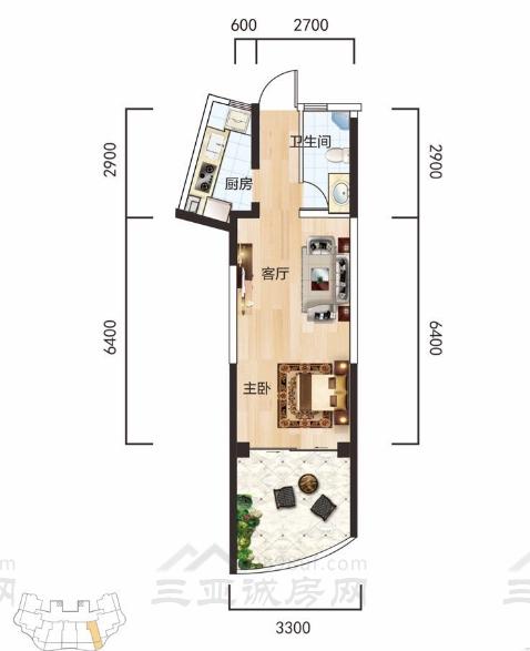 A2户型一房一厅一卫建面约44.02平.jpg